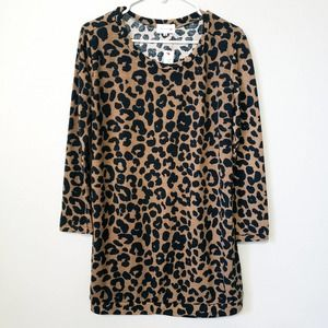 Trin and Go Animal Print Oversize Sweater Dress